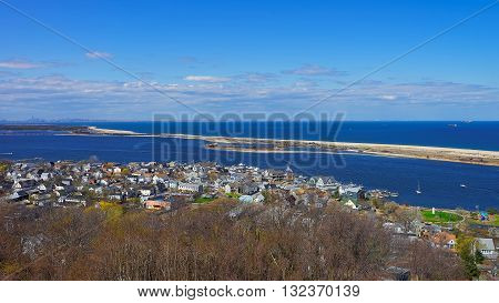 Houses And Atlantic Ocean At Sandy Hook