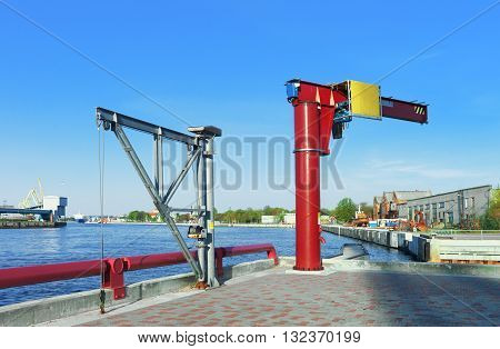 Lifting Crane At The Venta River In Ventspils