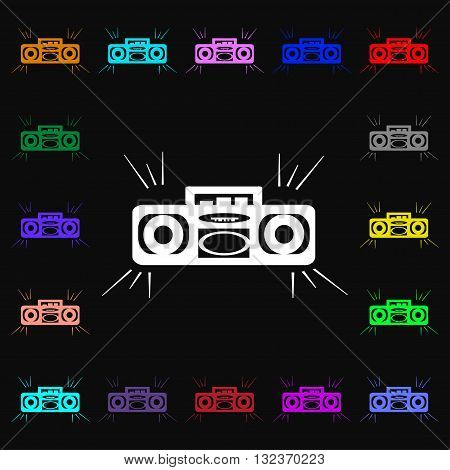 Radio Cassette Player Icon Sign. Lots Of Colorful Symbols For Your Design. Vector