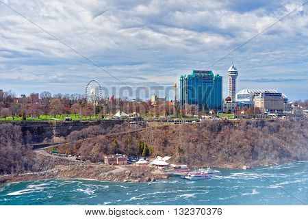 Niagara River And Cityscape In Ontario Near Niagara Falls