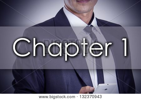 Chapter 1  - Young Businessman With Text - Business Concept