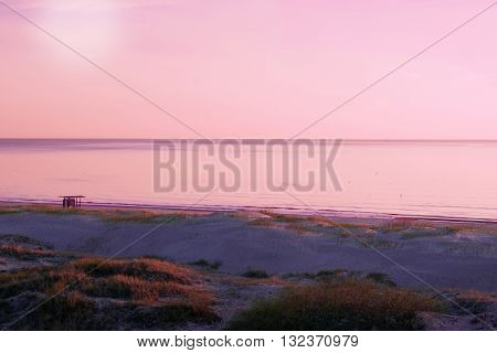 Sunset On The Baltic Sea In Ventspils In Latvia