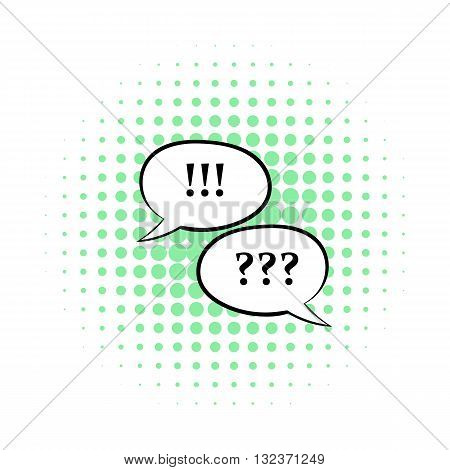 Question and exclamation marks icon in comics style isolated on white background