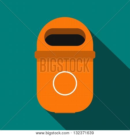 Orange trash can icon in flat style with long shadow. Waste and sanitation symbol