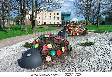 Figures Of Ladybirds In The Park In Ventspils In Latvia