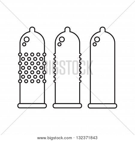 Condoms isolated icons on white background. Sex toys. Flat line style vector illustration.