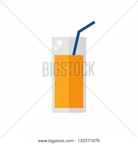 Juice icon. Orange juice isolated icon on white background. Fresh juice. Flat style vector illustration.