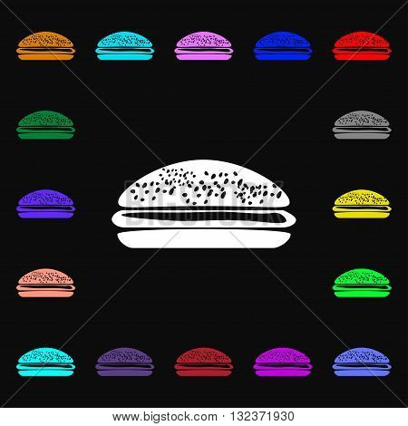 Burger, Hamburger Icon Sign. Lots Of Colorful Symbols For Your Design. Vector