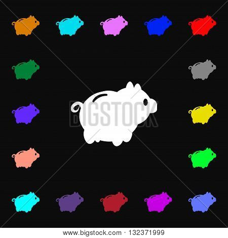 Piggy Bank Icon Sign. Lots Of Colorful Symbols For Your Design. Vector