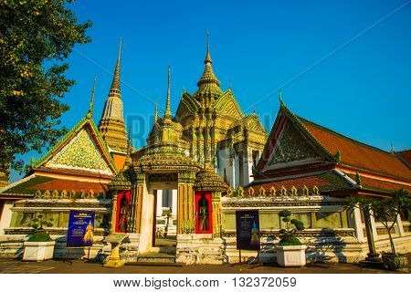 Wat Pho Or Wat Phra Chetuphon,the Temple Of The Reclining Buddha In Bangkok Of Thailand