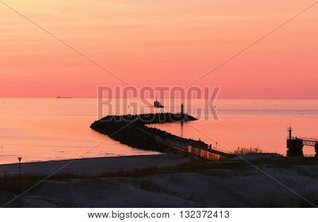 Sunset At The Pier In Baltic Sea In Ventspils