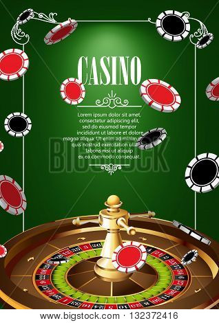 Casino Logo Poster Background or Flyer with Roulette Wheel and Chips. Banner with Casino Logo Badges on Green Canvas. Game Cards. Playing Casino Games. Casino Banner. Casino Games Gambling Template background.