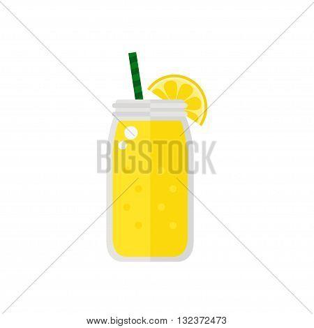 Smoothie. Lemon smoothie icon isolated on white background. Jar with smoothie. Fresh smoothie. Flat style vector illustration.