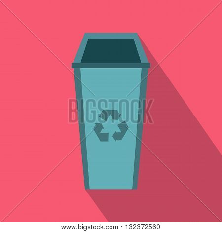 Open trash can icon in flat style with long shadow. Waste and sanitation symbol