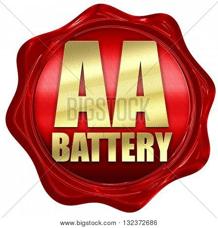 aa battery, 3D rendering, a red wax seal