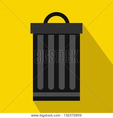 Iron trash can icon in flat style with long shadow. Waste and sanitation symbol