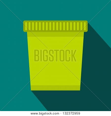 Green trash can icon in flat style with long shadow. Waste and sanitation symbol