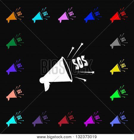 Sos Web Speaker Icon Sign. Lots Of Colorful Symbols For Your Design. Vector