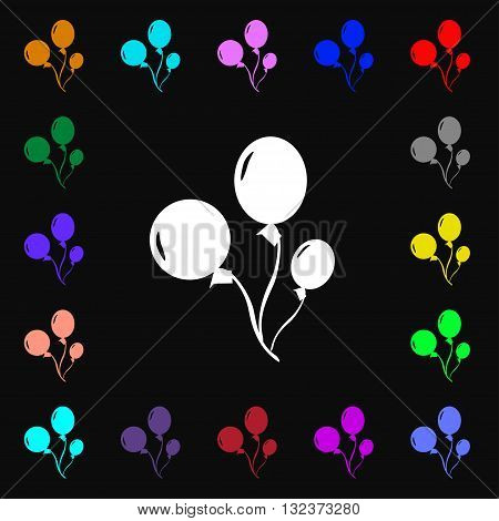 Balloons Icon Sign. Lots Of Colorful Symbols For Your Design. Vector
