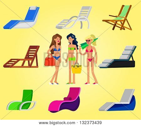 beach chaise longue in different design. Detailed character woman lies in a beach chaise longue.Vector beach chaise longue set, beach chaise longue illustration. Vector beach chaise longue