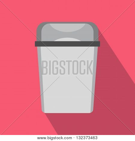 Gray trash can icon in flat style with long shadow. Waste and sanitation symbol