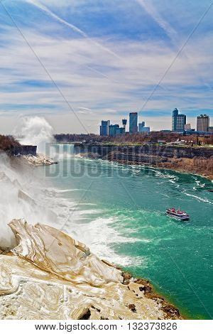 Niagara Falls And Ferry From American Side