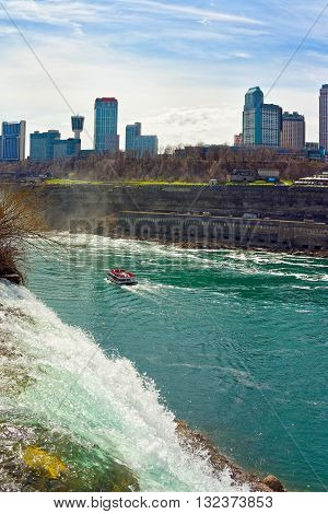 Niagara Falls And Ferry In Niagara River
