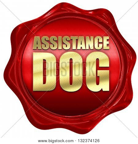 assistance dog, 3D rendering, a red wax seal