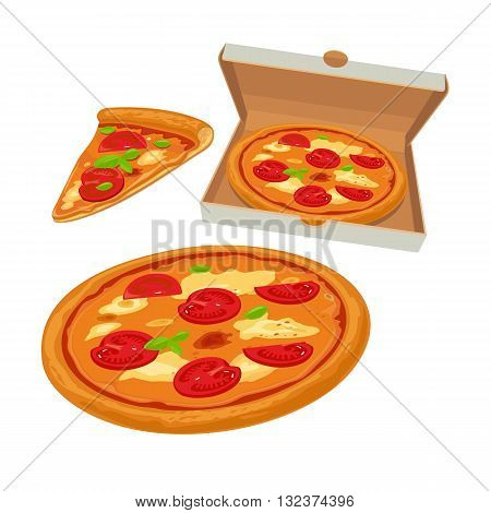 Whole pizza margherita in open white box and slice. Isolated vector flat illustration for poster menus logotype brochure web and icon.