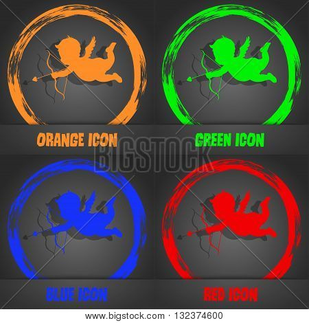 Cupid Icon. Fashionable Modern Style. In The Orange, Green, Blue, Red Design. Vector