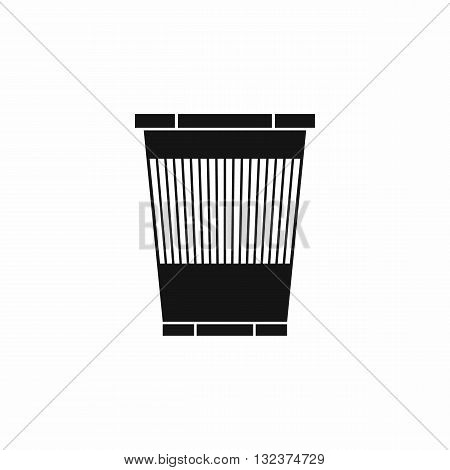 Trash can icon in simple style isolated on white background