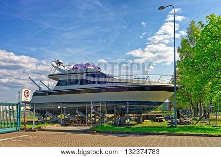 Yacht In The Street Of Ventspils In Latvia