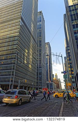 6Th Avenue And Skyscrapers In Midtown Manhattan