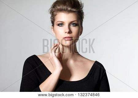 Elegant Blonde Woman Plus Size With Beautiful Hair And Makeup Smoky Eyes