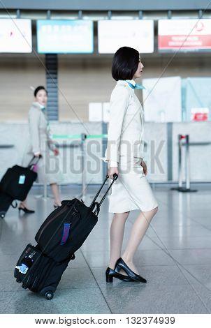 Asian Korean Air Flight Hostess In International Airport Of Incheon