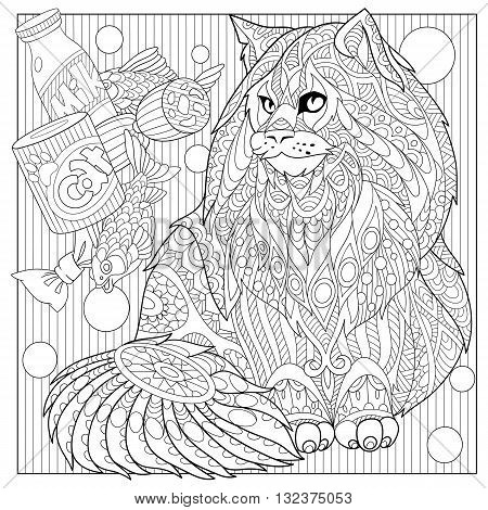 Zentangle stylized cartoon maine coon with cat food. Hand drawn sketch