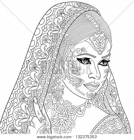 Zentangle stylized cartoon indian woman isolated on white background. Hand drawn sketch