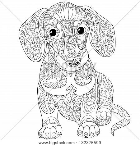 Zentangle stylized cartoon dachshund dog isolated on white background. Hand drawn sketch