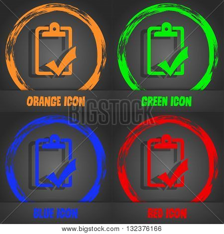 Document Grammar Control, Test, Work Complete Icon. Fashionable Modern Style. In The Orange, Green,