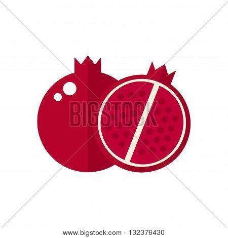 Pomegranate fruit icon. Pomegranate icon isolated on white background. Flat style vector illustration.