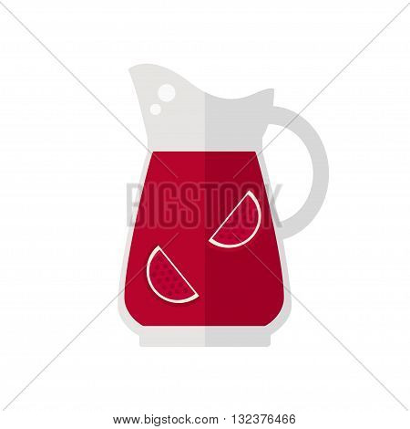 Juice jug icon. Pomegranate juice jug isolated icon on white background. Fresh juice. Healthy drink. Flat style vector illustration.