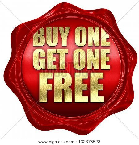 buy one get one free, 3D rendering, a red wax seal