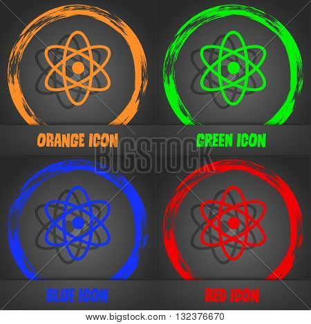 Atom, Physics Icon. Fashionable Modern Style. In The Orange, Green, Blue, Red Design. Vector