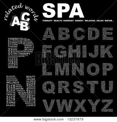 SPA. Vector letter collection. Illustration with different association terms.