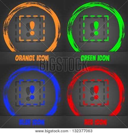 The Exclamation Point In A Square Icon. Fashionable Modern Style. In The Orange, Green, Blue, Red De
