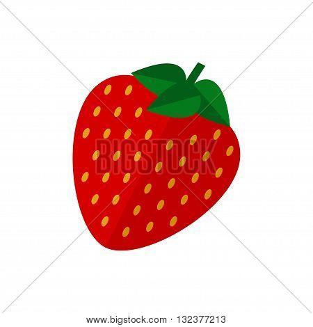 Strawberry fruit icon. Strawberry icon isolated on white background. Flat style vector illustration.