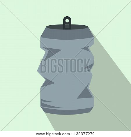 Crumpled aluminum cans icon in flat style with long shadow. Drink symbol