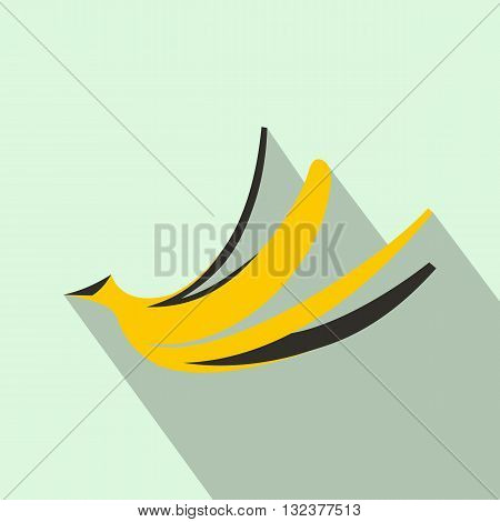 Banana peel icon in flat style with long shadow. Food symbol