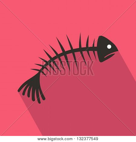 Fish bones icon in flat style with long shadow. Seafood symbol