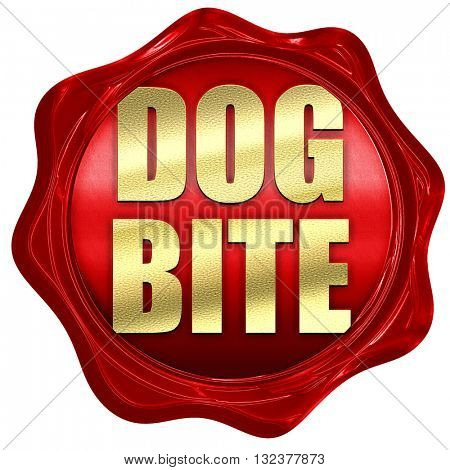 dog bite, 3D rendering, a red wax seal